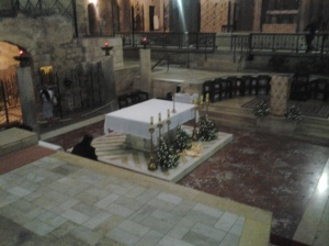 The Altar in front of the grotto inside the Basilica of the Annunciation where Angel announced to Virgin Mary that she would bear a Son